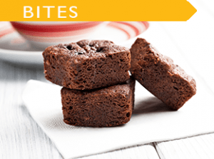 little square bites of moist chocolate brownies