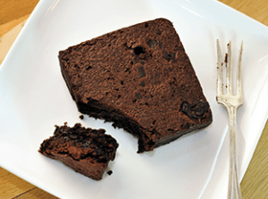 a moist chocolate brownie cake